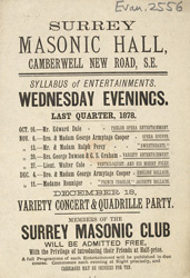 Advert for an evening of entertainment at the Surrey Masonic Hall